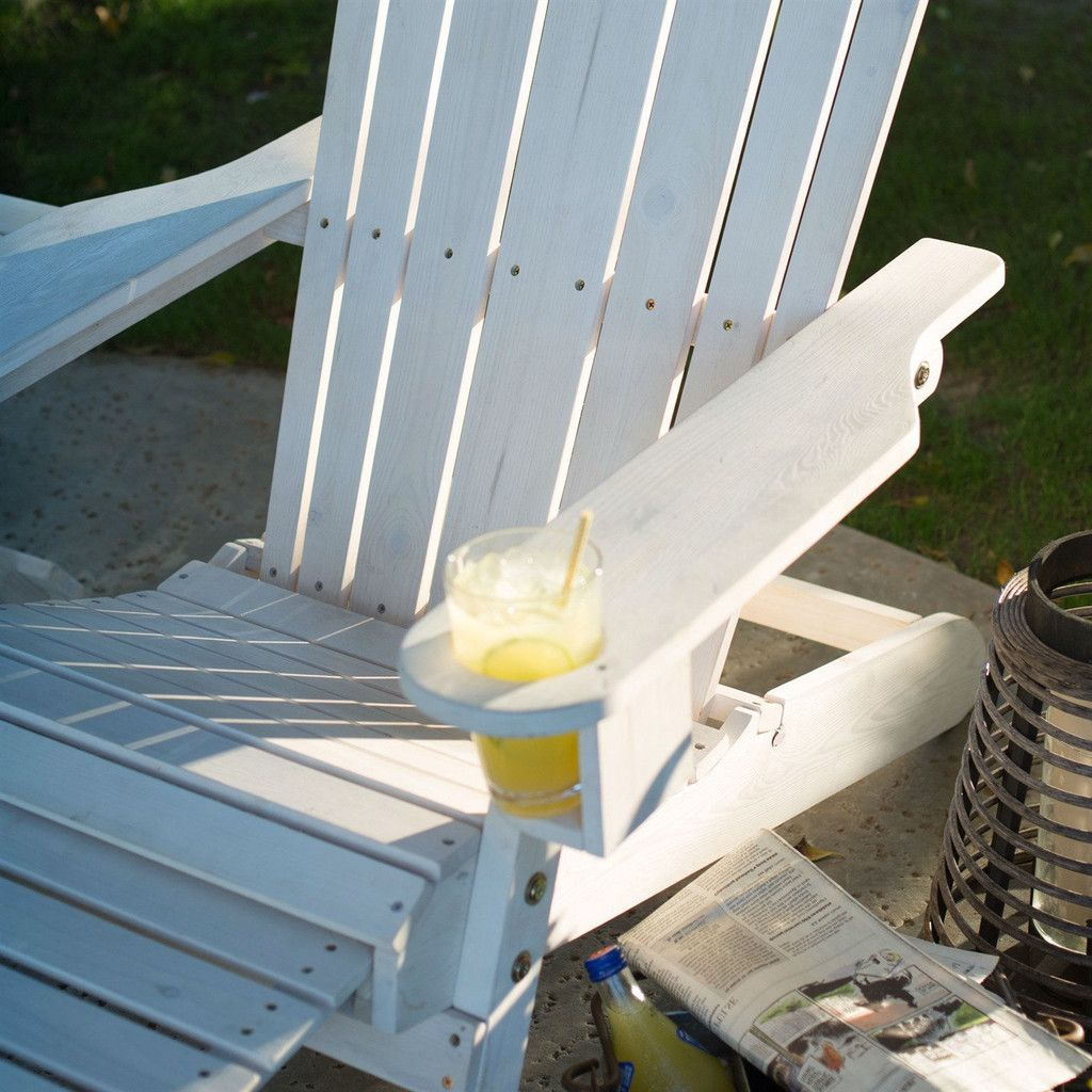 Adirondack Chair with Ottoman & Cup Holder in Whitewash