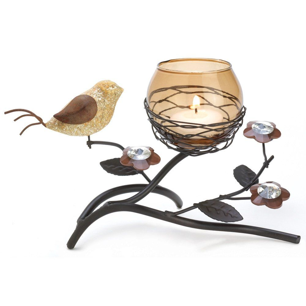 Gifts u decor partridge bird nest branch motif tealight candle