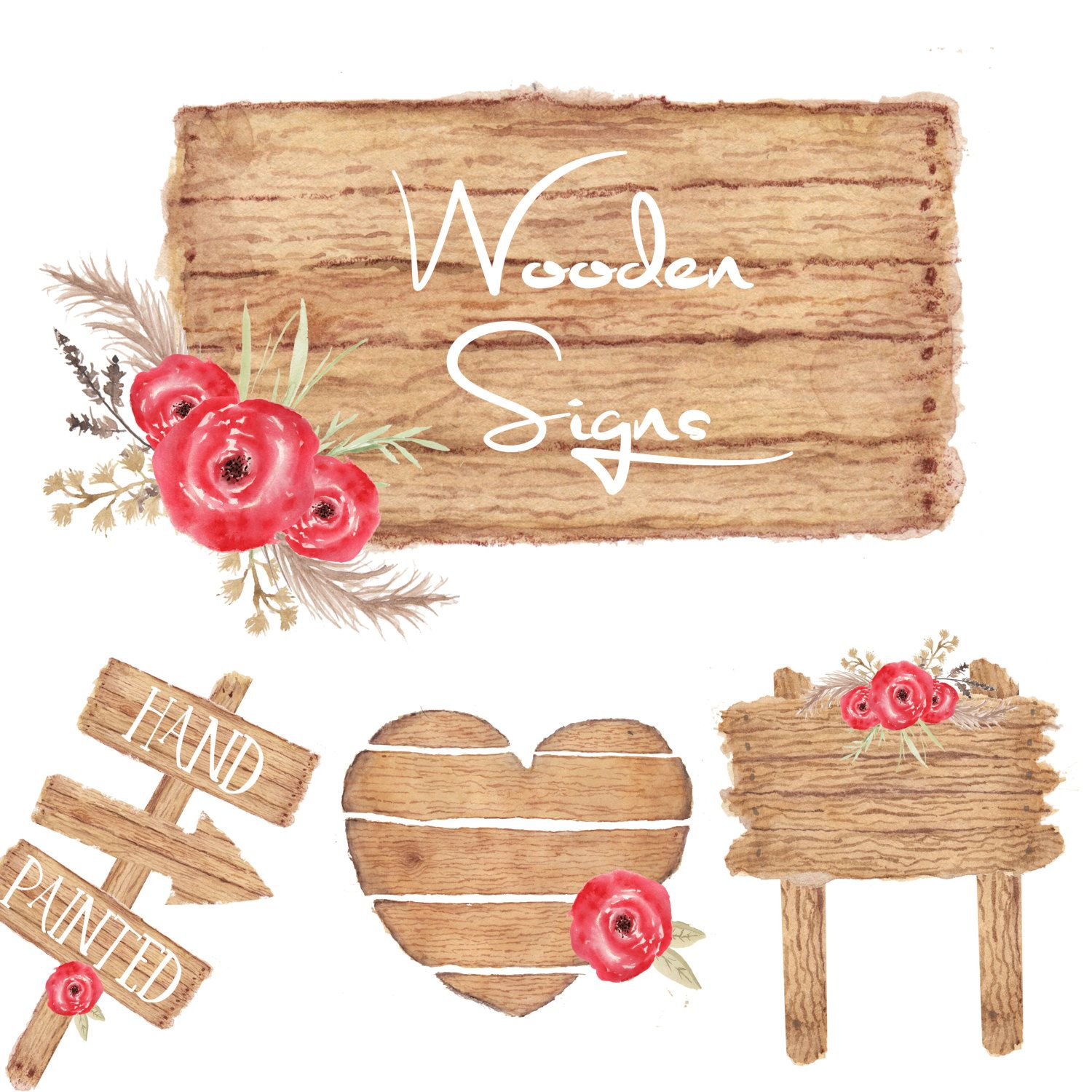 Watercolor Wooden Sign Clipart Wood Rustic Roses By GiddyPopGraphics