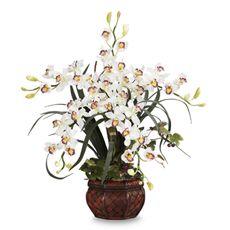 Nearly Natural Cymbidium w/ Decorative Vase Silk Arrangement - White - Bed Bath & Beyond