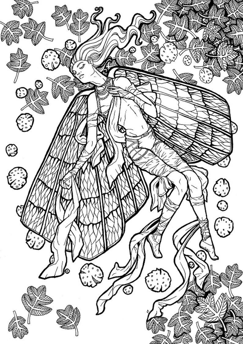 Coloring Page Romantic Dark Fantasy Black And White A Etsy Coloring Pages Mandala Coloring Pages Digital Art Prints