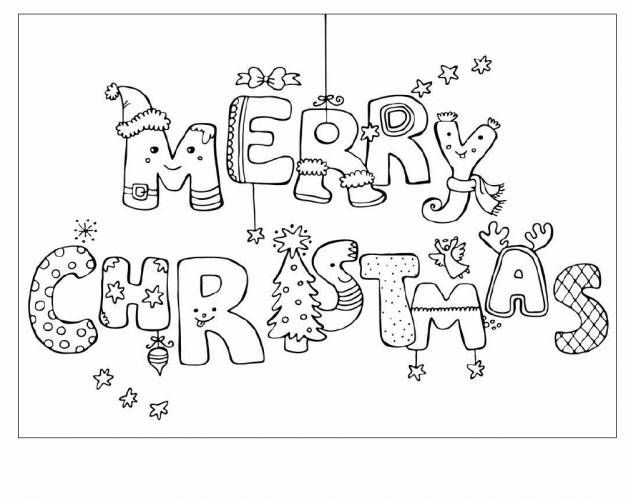 Christmas Cards Coloring Pages For Kids