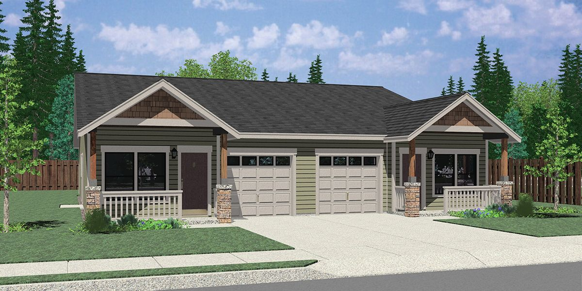 25 Ft Wide Duplex House Plan With Garage 3 Bed 2 Bath Plan D 678 Duplex Floor Plans Duplex House Plans Duplex House