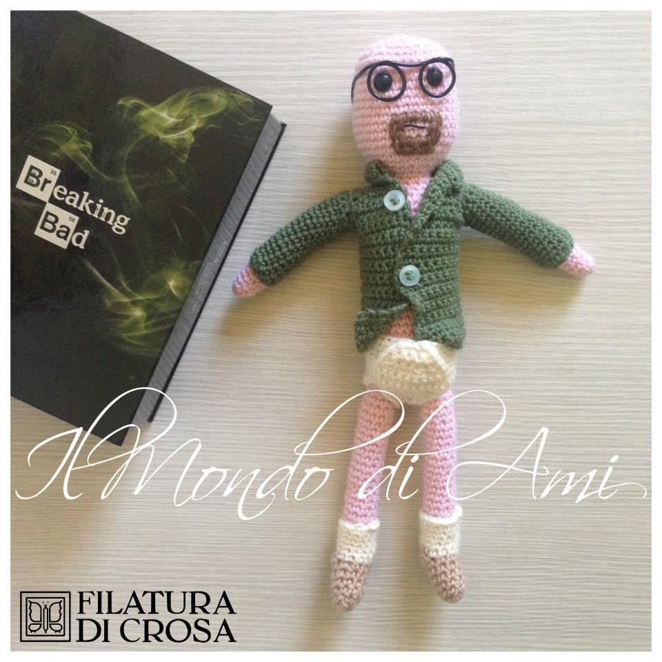 """Walter White / Breaking Bad #amigurumi #handmade versione in mutande realizzato con filato """"Zara"""" e """"Zarina"""" Filatura di Crosa Italia"""