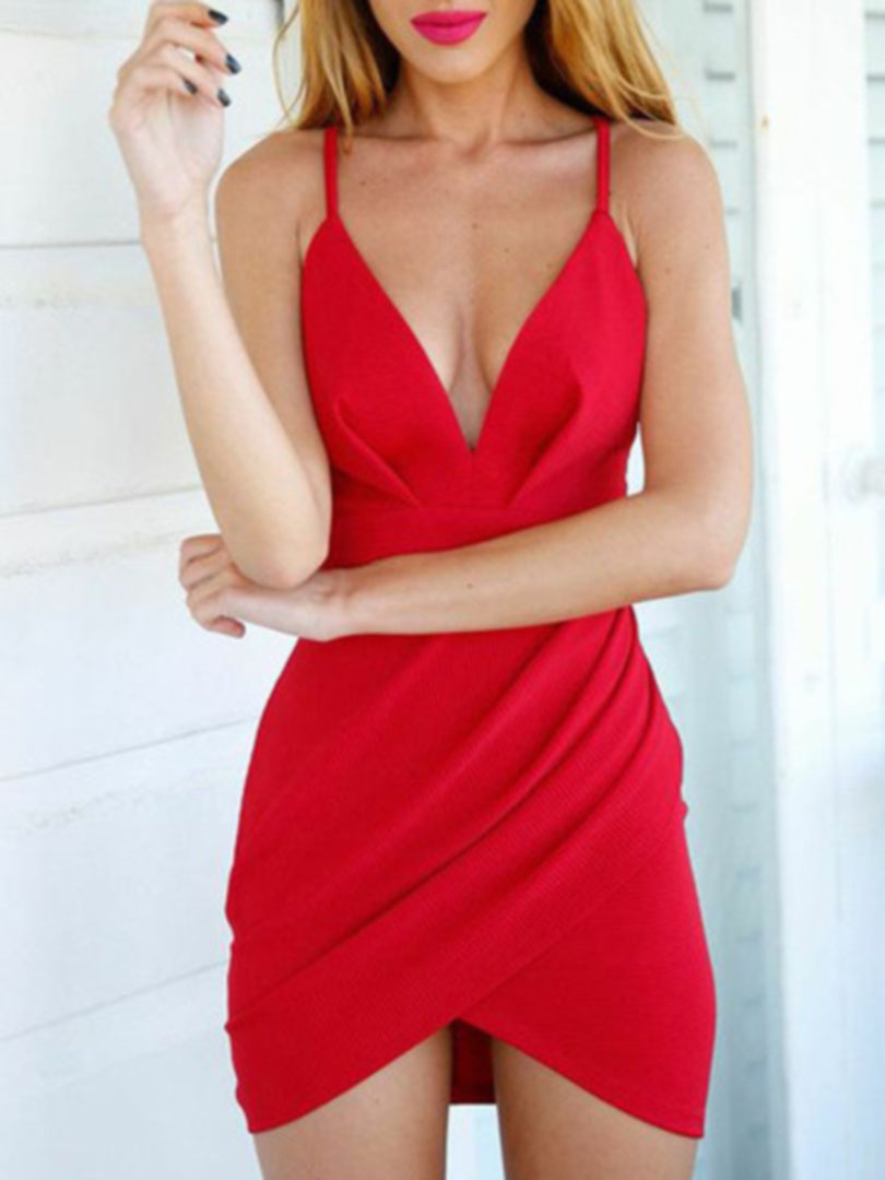 Red Deep V Strappy Asymmetric Hem Wrap Bodycon Mini Dress  4ea52c9603d8