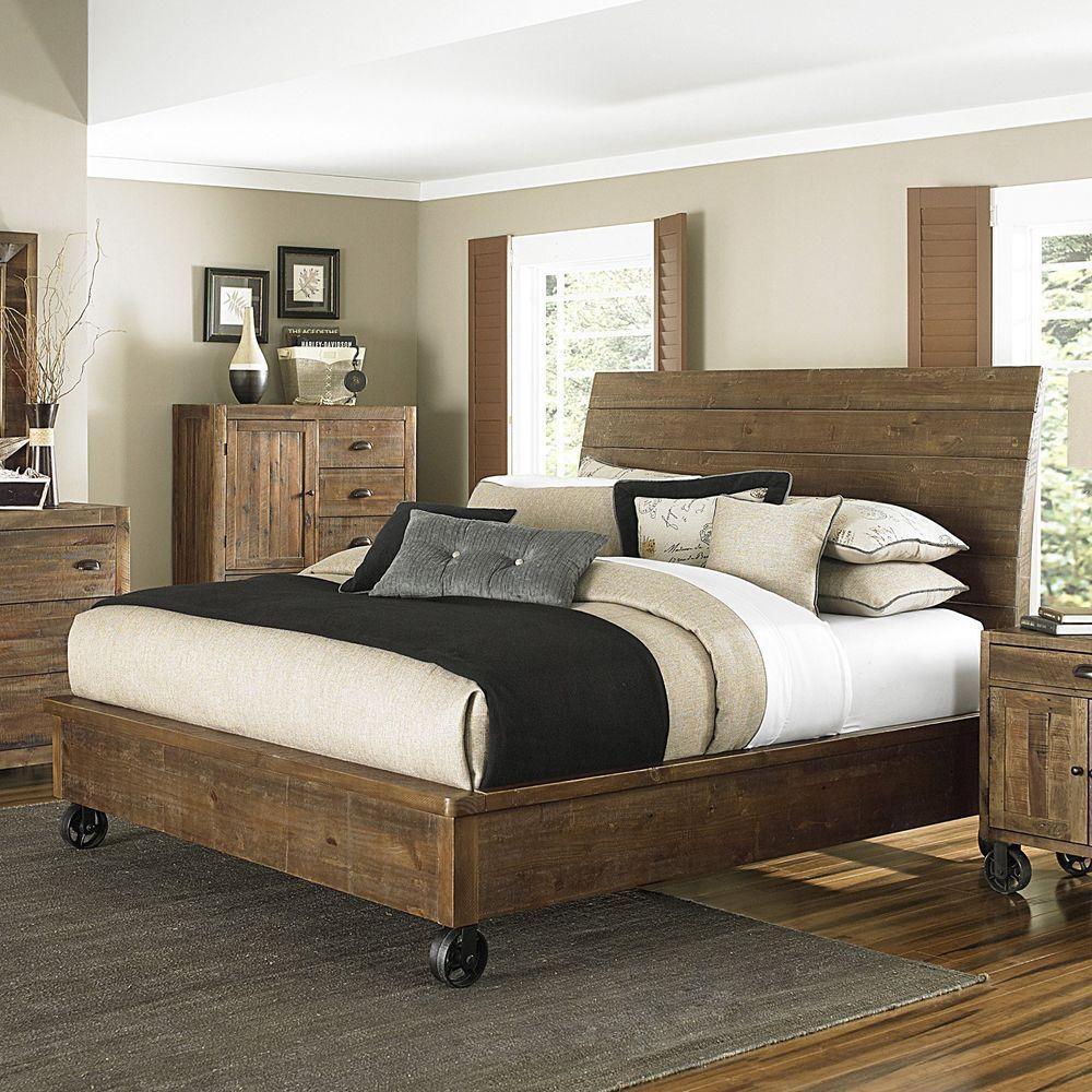 Rustic Wood Bed Urban Industrial Loft Plank Frame W Wheels Queen