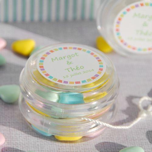 Yoyo en plexiglas personnalisé, à remplir de bonbons ou de dragées , boîte  à bonbons baptême fille ou garçon , cadeau invités