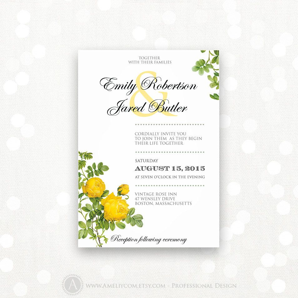 Printable Wedding Invitation Yellow Roses Weddings Invite