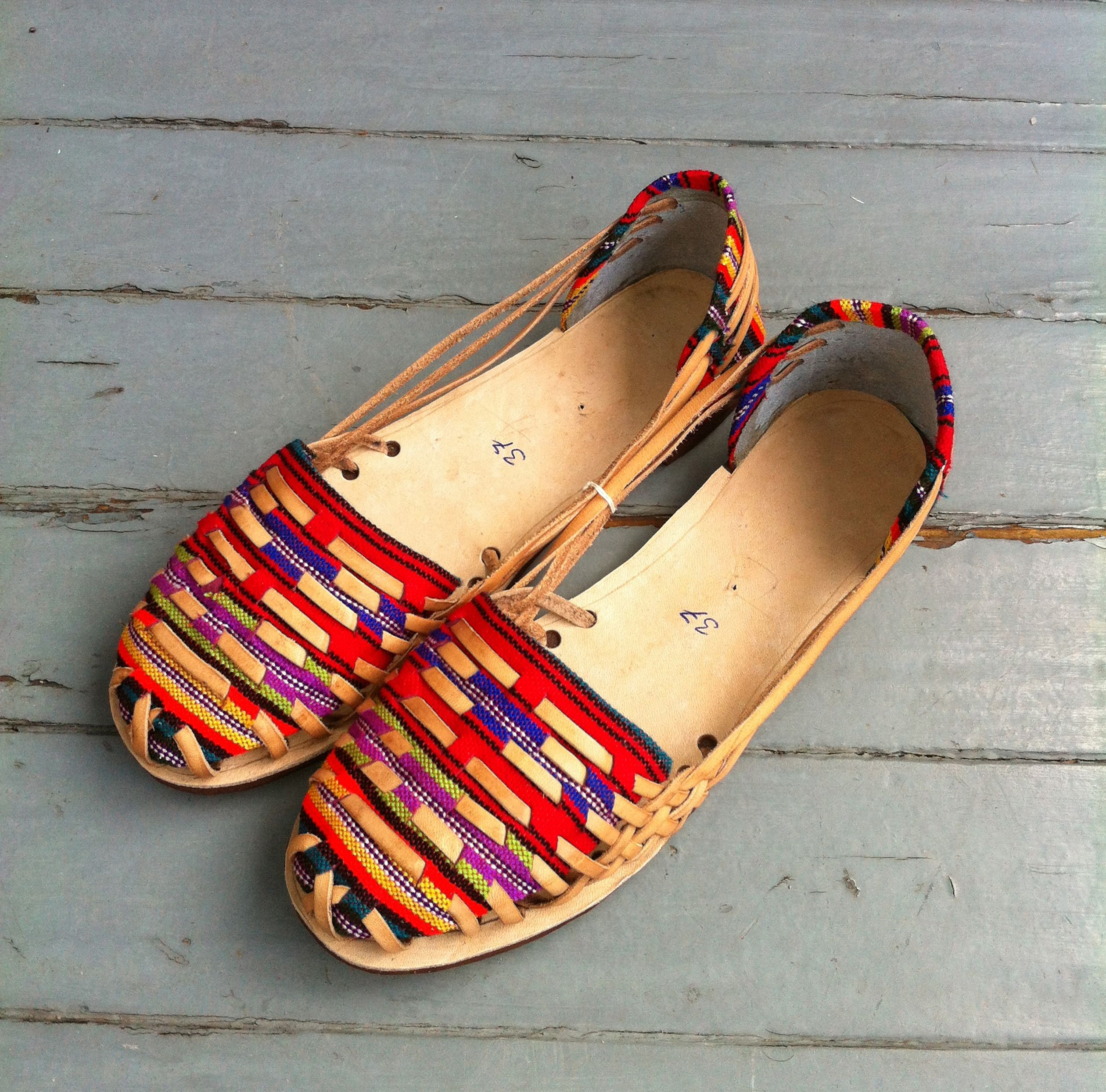 Perfect Summer slip ons! Leather and textile sandals, handmade in Guatemala.  European SizingWill stretch a bitLeather and Cotton/Acrylic Textile Blend