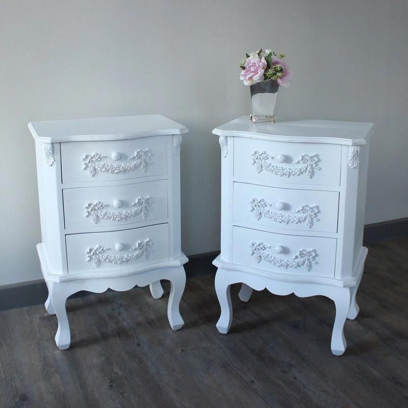 White Ornate Vintage Style Bedside Table Bedroom Chest Furniture Ebay Furnituresets