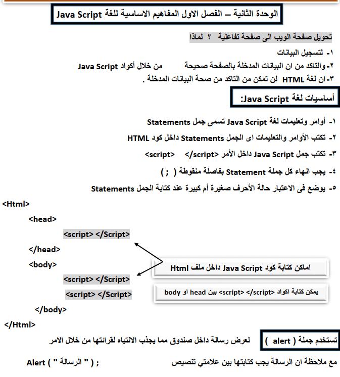 مذكرة حاسب آلي للصف الثاني الإعدادي الترم الثاني 2020 Script Javascript Jala
