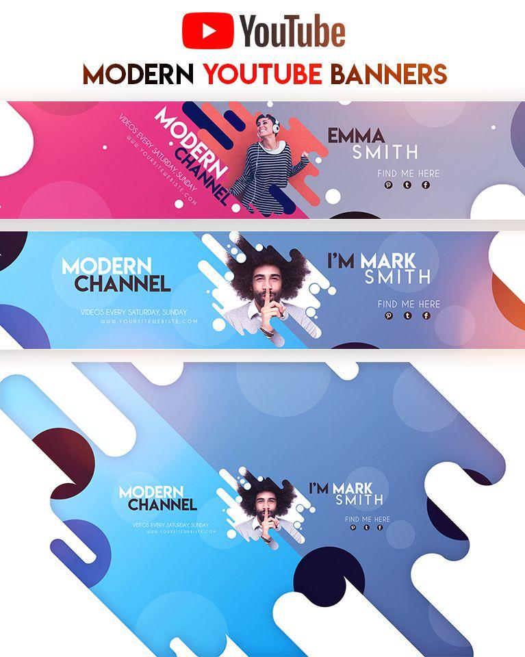 4 Creative Modern YouTube Banners | Inspirasi desain web ...