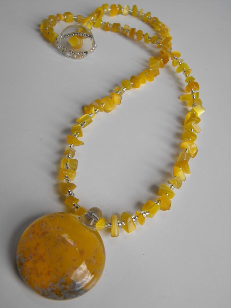 j-103 Yellow blown glass pendant on stone and glass beaded chain sold
