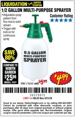 0.5 gallon MultiPurpose Sprayer for 4.99 Harbor