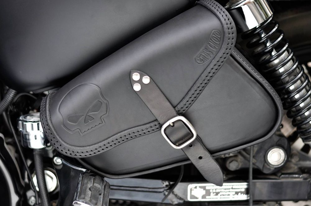 1 Pair Leather Saddle Bags Bottle Holder Swing arm Bags for  Sportster