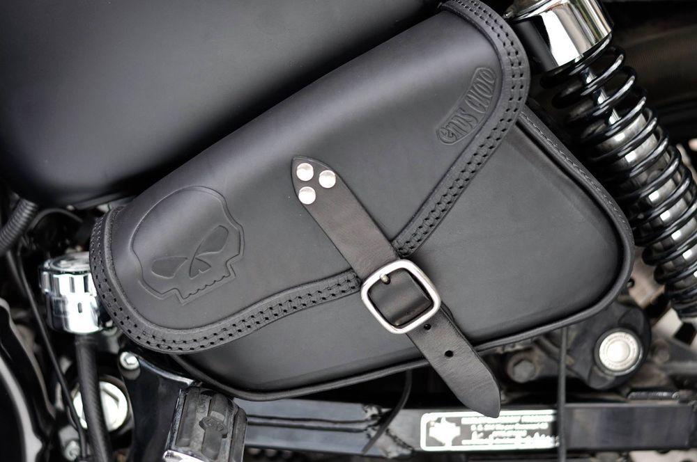 Black Motorcycle Side Saddle Bags for Harley Davidson XL Sportster 1200 Custom