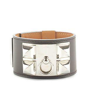 4249dba8e13 Hermes Chocolate Brown Swift Leather Collier de Chien Cuff Bracelet ...