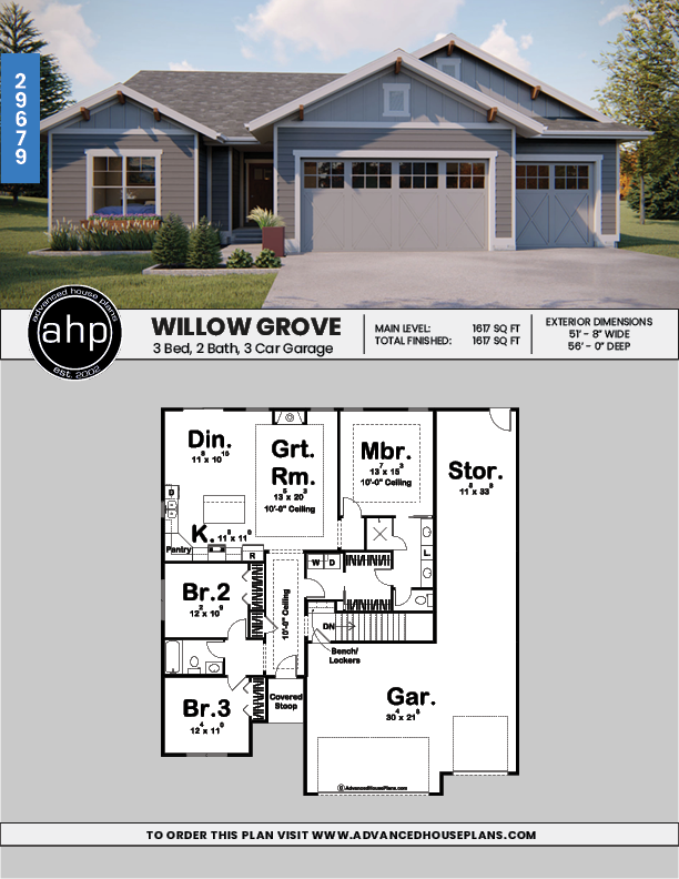 Willow Grove 1 Story Craftsman House Plan #craftsmanstylehomes
