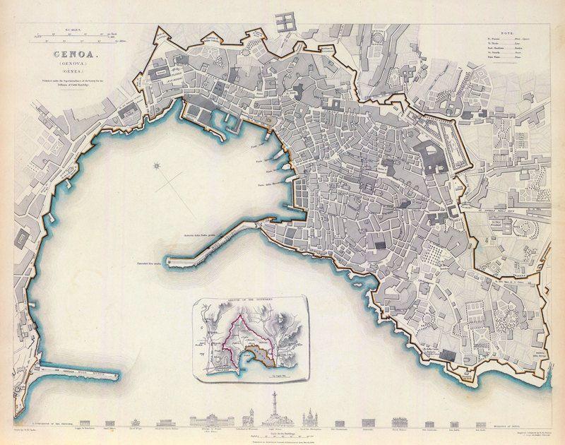 Old Map Of Genova Genes Genoa City Plan Italia Antique - Italy map genoa