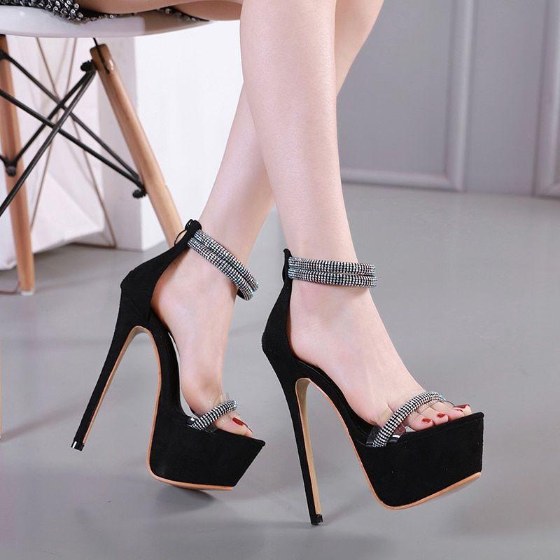 1c2e40ed14a Women Platform heels sandals zip peep toe slides summer 16cm high ...
