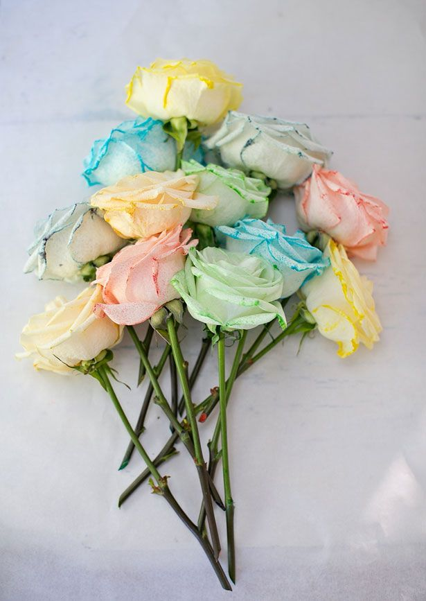 diy: rainbow dyed flowers so sweet  i may do this with carnations to  decorate emma's bday!