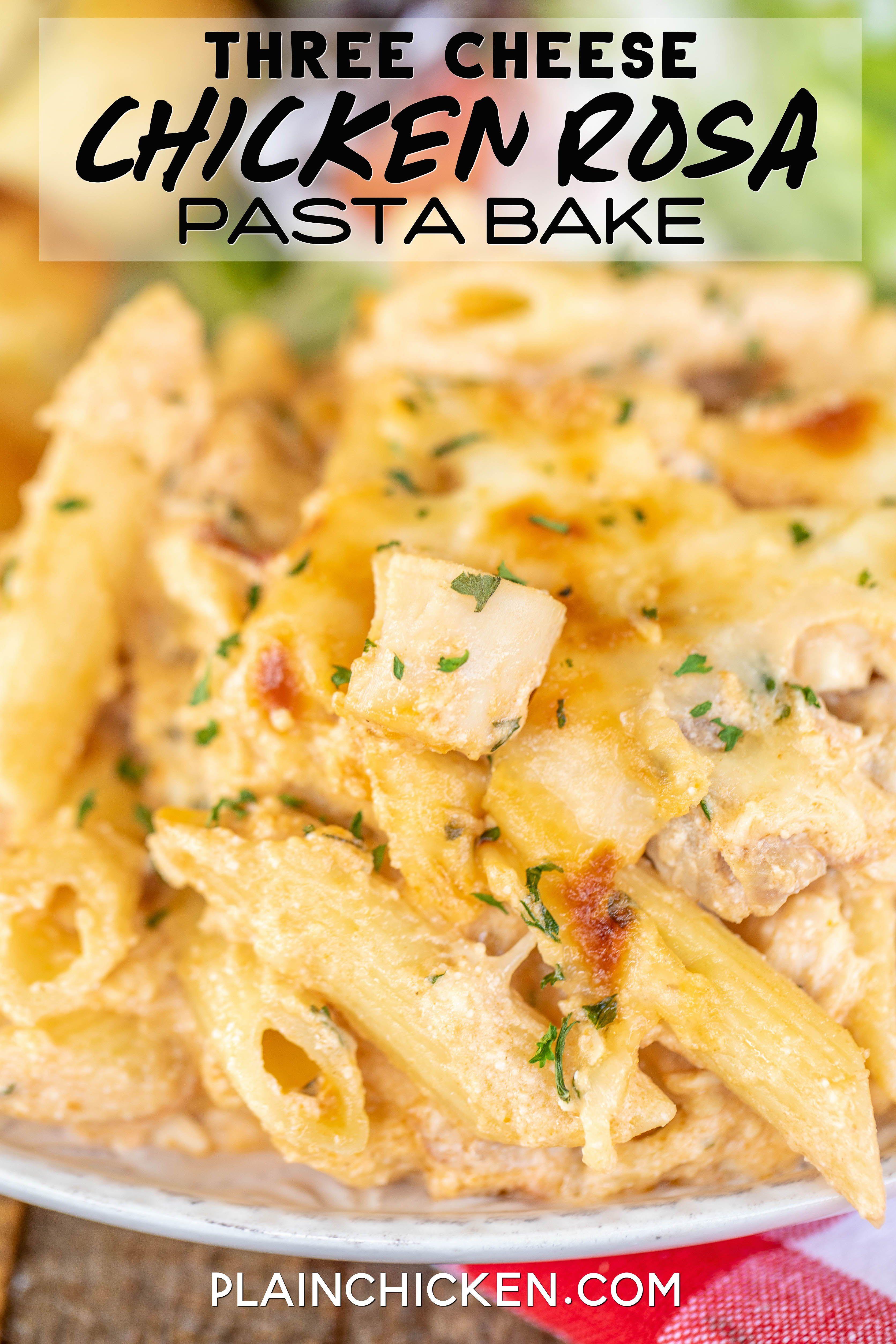Three Cheese Chicken Rosa Pasta Bake Hotdish Recipes Pasta Dishes Pasta Bake Easy