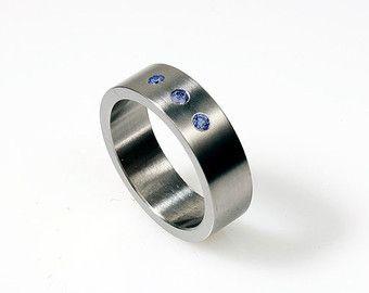 Blue Sapphire Ring Palladium Band Modern Mens Wedding Band Men Sapphire Ring Men Blue Wedding M Mens Black Diamond Rings Mens Wedding Rings Rings For Men