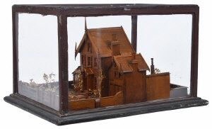 A Late 19th Century or Very Early 20th Century Model of a Wooden House: with side greenhouse and outliving quarter to side