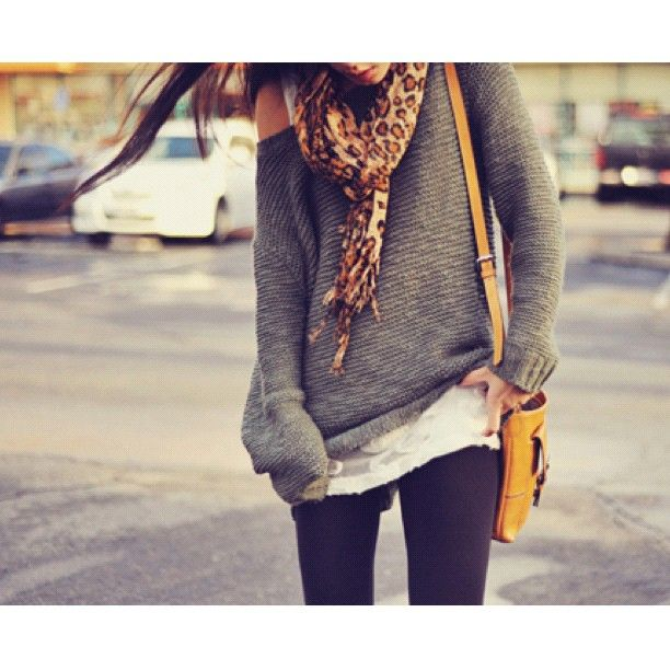 Cute Fall Outfits Tumblr | tumblr weheartit cute outfit scarf sweater leggings pretty purse fall ...