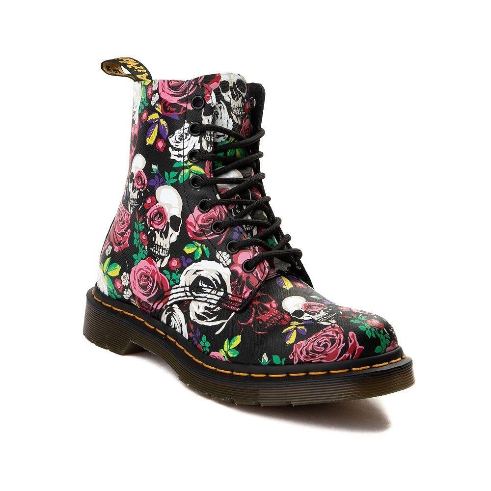 3658dcd078ab Womens Dr. Martens Pascal 8-Eye Rose Skull Boot in 2019 | Random ...
