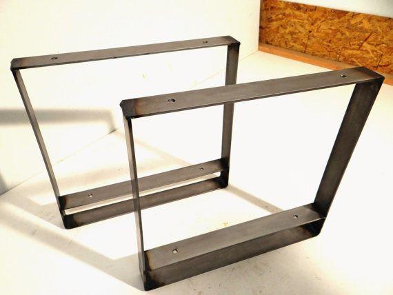 Set Of 2 Flat Steel Table Legs With Lower Shelf Metal Coffee