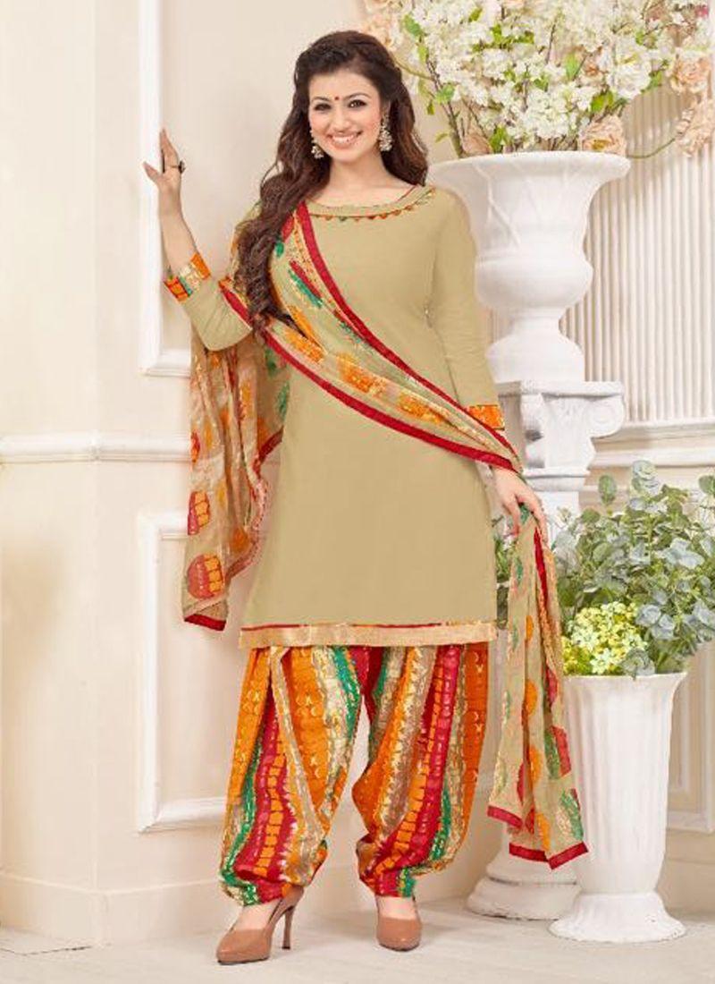 b7454ad1de beige-glace-cotton-casual-wear-printed-patiala-suit | everyday desi ...