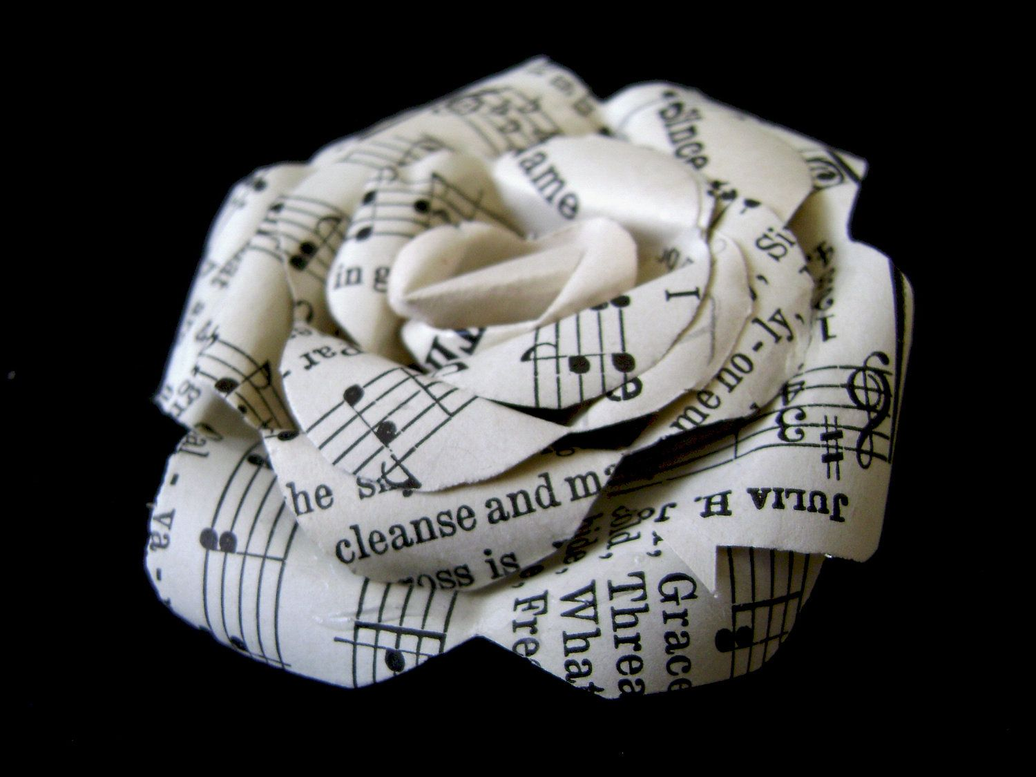 Paper rose pin made with vintage hymnal pages sheet music paper music brooches pin made with vintage hymnal pages sheet music paper flower brooch mightylinksfo
