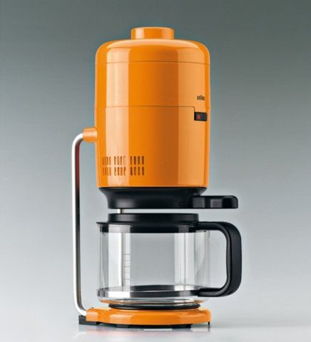 Without a doubt the best designed coffee maker ever made.  Designed by Florian Seiffert for Braun in 1972, it was immediately a classic of design and technology, with its vertical automatic drip system, dual heaters, and stunning aesthetics