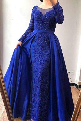Photo of Evening dress ball gown long sleeve blue
