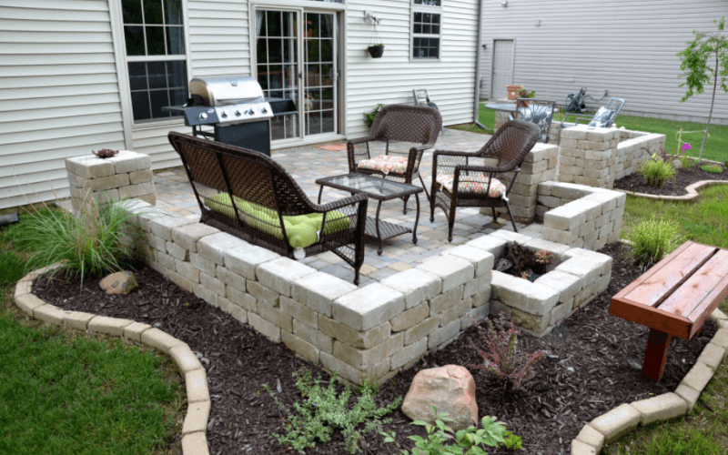 DIY Backyard Stone Paver Patio Tutorial *I Like The Walls And Landscaping  Shape