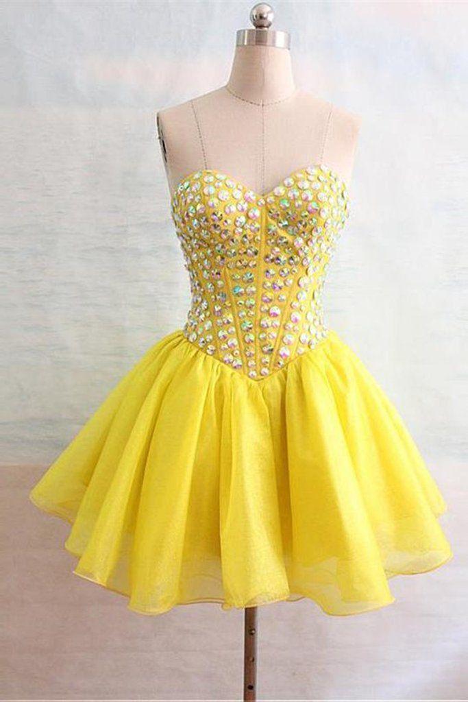 eec2d990ec Yellow chiffon sweetheart beading rhinestone short prom dresses for ...