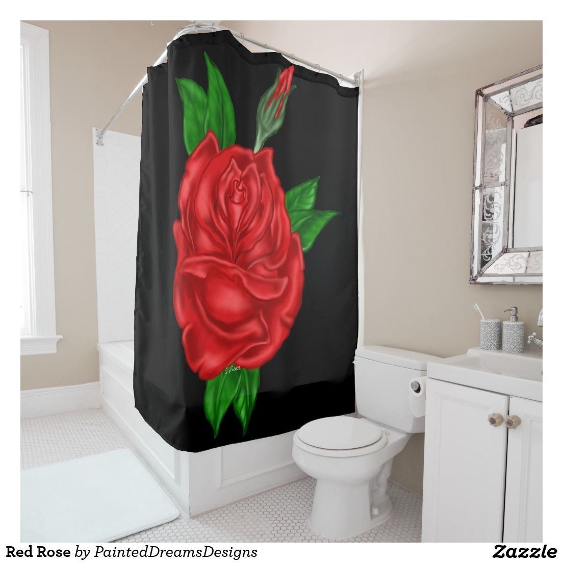 Red Rose Shower Curtain Zazzle Com Rose Shower Curtain Black