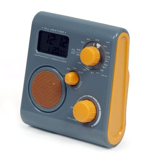 Aquabourne Fm Bath Shower Radio Can Be Used As An Mp3 Speaker Built In Stand Also Reversed For Use A Hook Orange