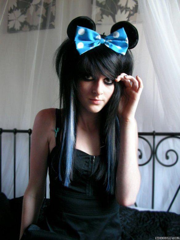 Hot emo girls long black hair
