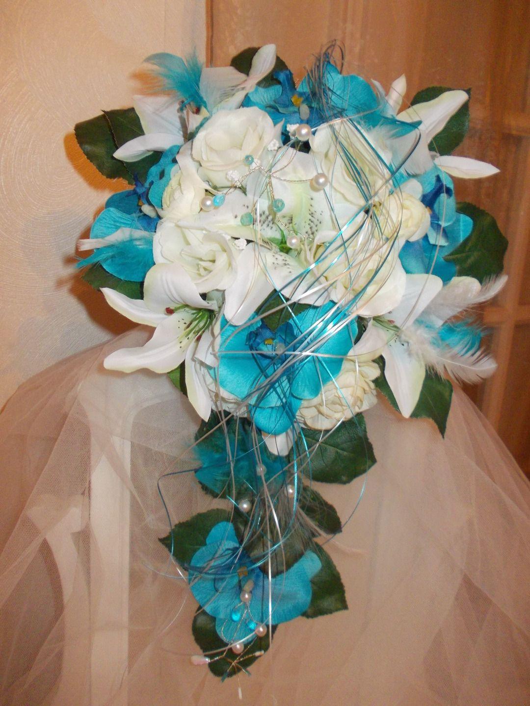 bouquet de mari e artificiel turquoise orchidees et roses. Black Bedroom Furniture Sets. Home Design Ideas