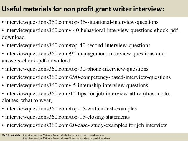 top 10 non profit grant writer interview questions and