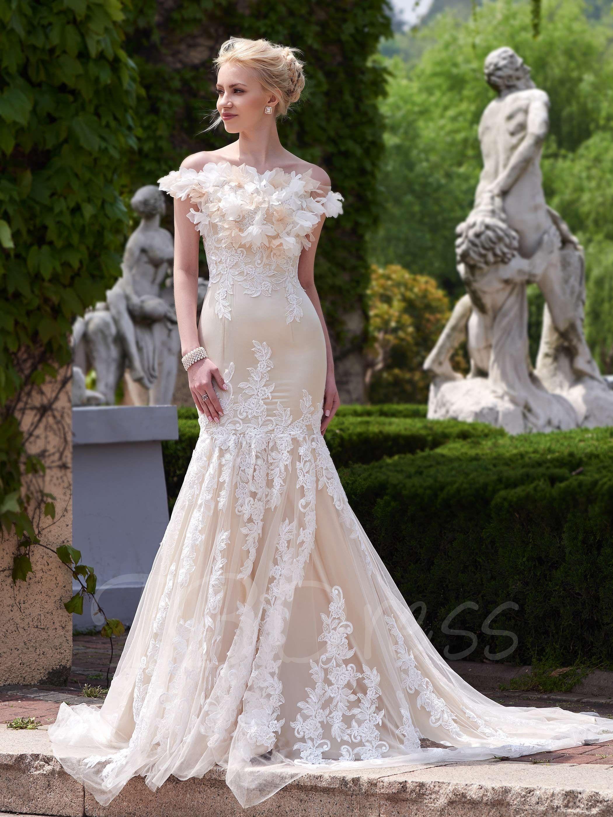 Off-The-Shoulder Appliques Mermaid Court Train Wedding Dress - m ...