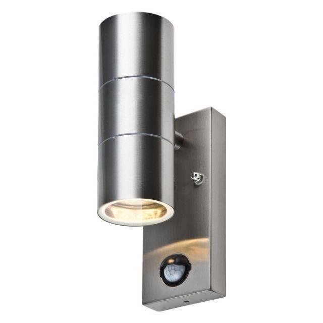 LED Wandleuchte ROM, M. Bewegungsmelder, Außenleuchte, 2 Flammig, Edelstahl, Amazing Ideas