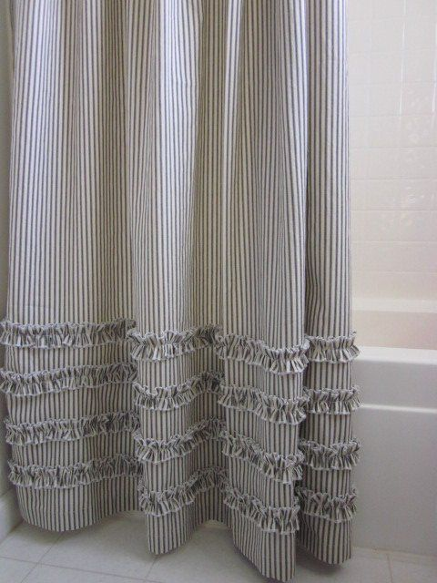 Ruffled Ticking Stripe Shower Curtain Gray Black Navy Blue