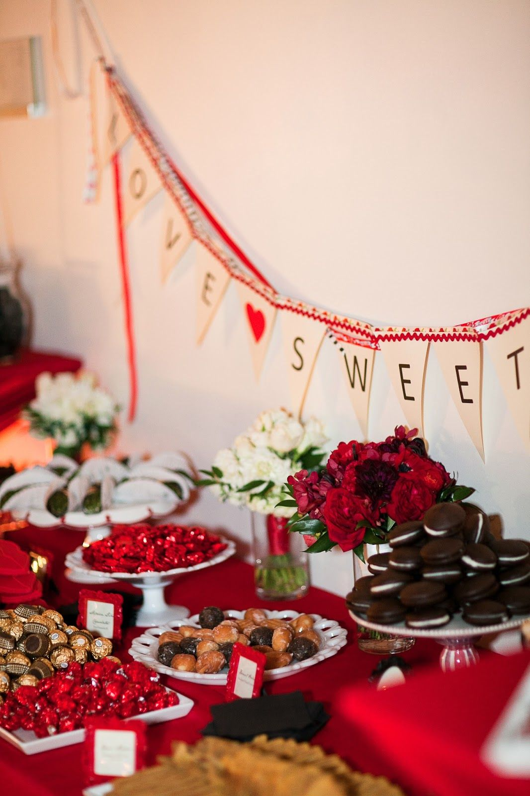 The baconsu yummy sweets table with diy love sweet love banner