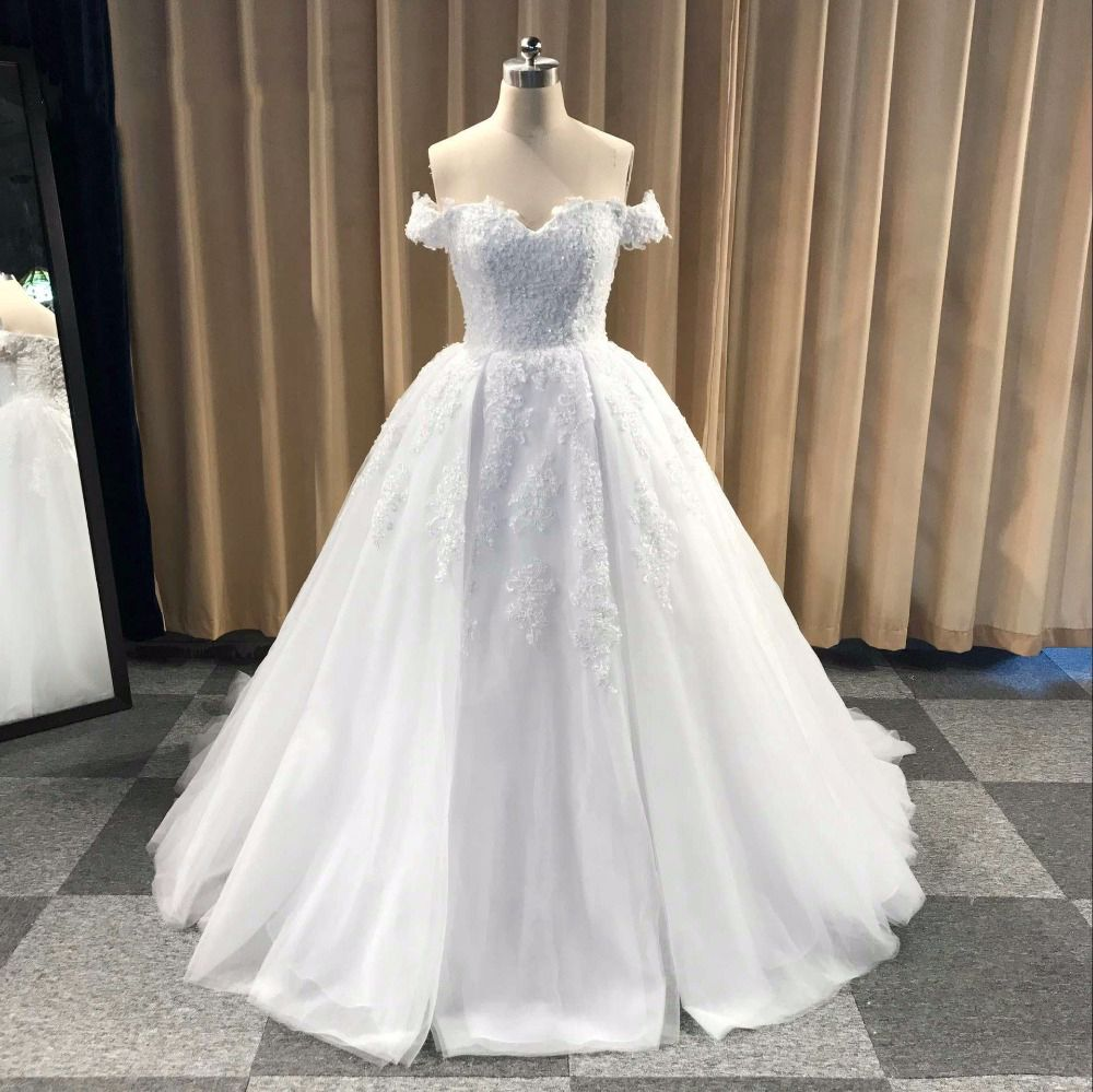 Glamorous Ball Gown Off-The-Shoulder White Long Wedding Dress ...