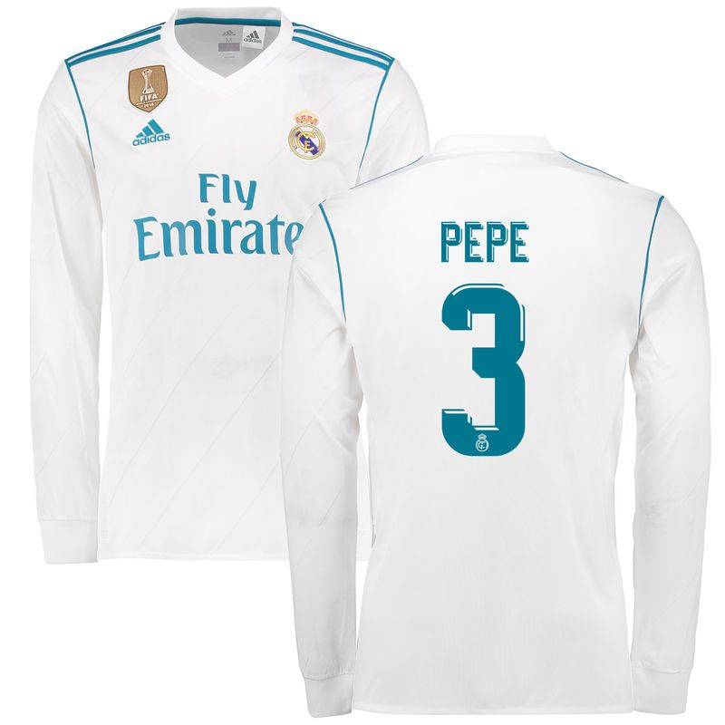 Pepe Real Madrid adidas 2017/18 Home Replica Patch Long Sleeve Jersey - White