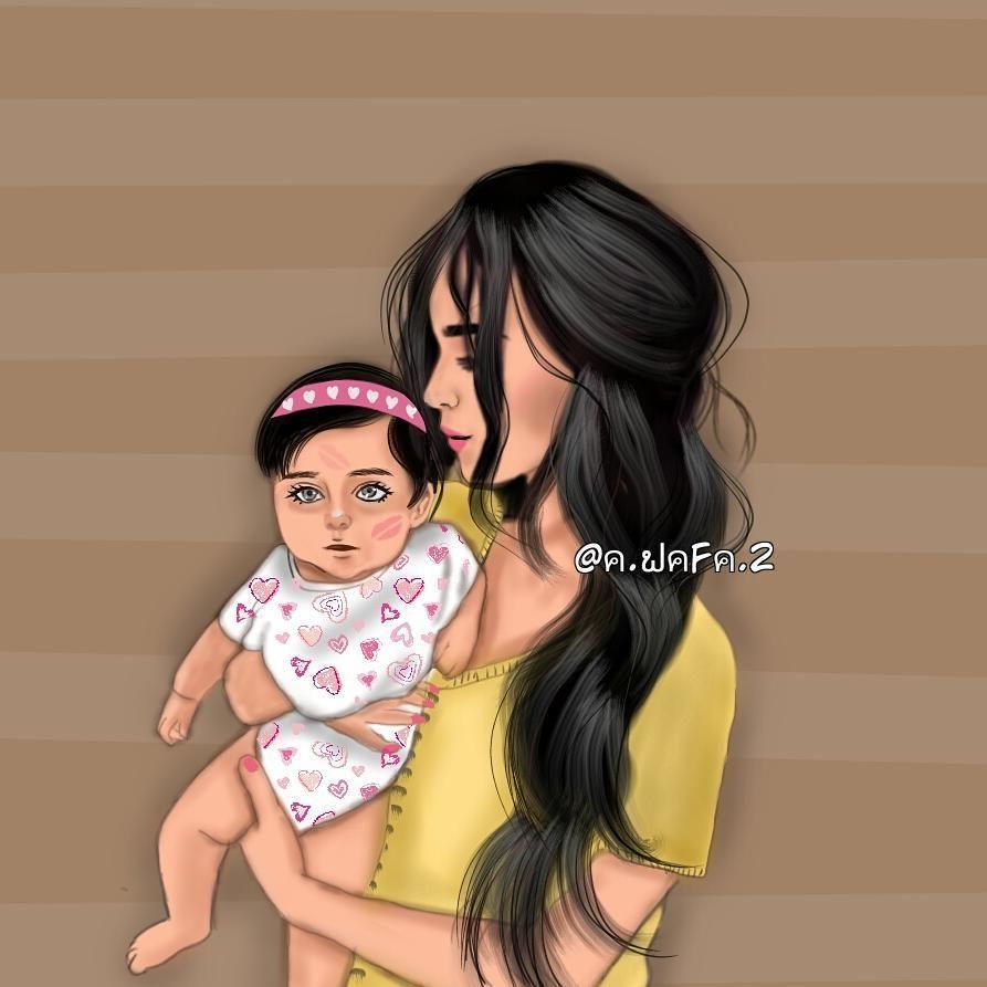 رسمتي الجديدة رايكم اسحب لليمين ـــــــــــــــــــــــــــــــــــــــــــــ الفنانون العرب رسم رقمي ا Mother Daughter Art Mother Art Cute Girl Drawing