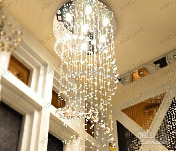 Led crystal chandelier pendant droplight modern minimalist led crystal chandelier pendant droplight modern minimalist chandeliers staircase stairway foyer entrance hallway lighting duplex villa aloadofball Gallery